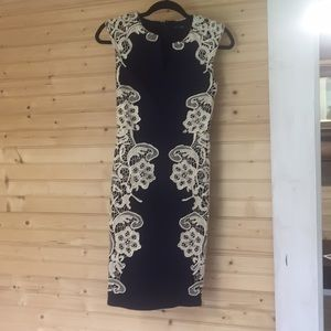 Navy Blue with Cream Lace London Dress Co. Dress